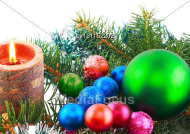 Christmas And New Year Decoration- Balls, Tinsel, Candels. Isolated On The White Background Stock Photo