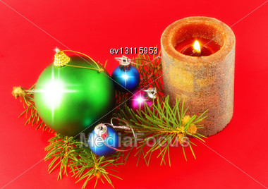 Christmas And New Year Decoration-balls And Candels On Red Background Stock Photo