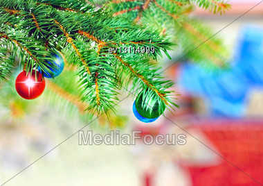 Christmas And New Year Decoration-balls On Fir Tree Stock Photo