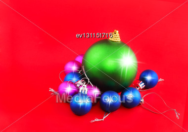 Christmas,New Year Decoration-balls .On The Red Background Stock Photo
