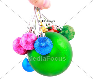 Christmas And New Year Decoration-balls. Isolated On The White Background Stock Photo