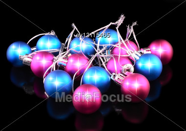 Christmas And New Year Decoration-coloured Balls. On The Black Background Stock Photo