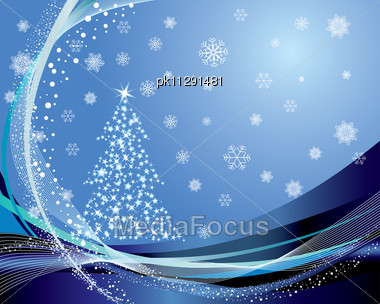 Christmas (New Year) Fir-tree With Stars. Vector Background Stock Photo