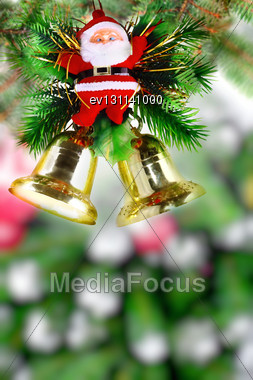 Christmas And New Year Tree. Isolated Over White Stock Photo