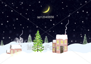 Christmas Night And The House On Snow Hills Stock Photo