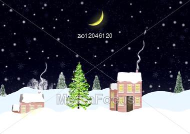 Christmas Night Landscape Background Stock Photo