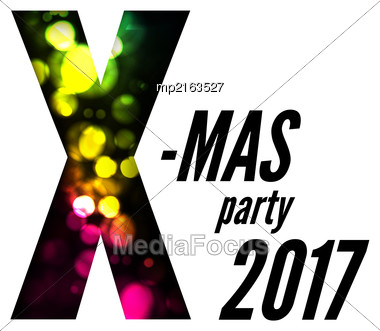 Christmas Party With Bokeh. Vector Illustration On White Stock Photo