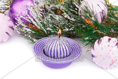 Christmas Pink Balls, Candle And Fir Tree On White Background Stock Photo