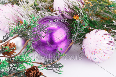 Christmas Pink Balls And Fir Tree On Gray Background Stock Photo
