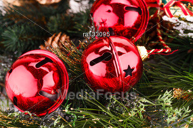 Christmas Red Balls With Fir Tree Branch Closeup Image Stock Photo
