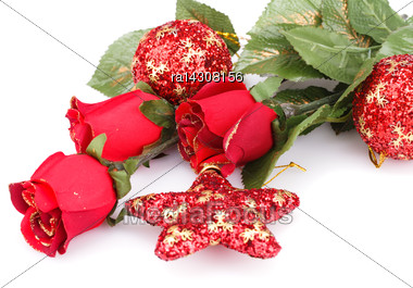 Christmas Red Balls, Star And Roses Isolated On White Background Stock Photo
