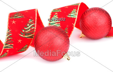 Christmas Red Ribbon And Balls Isolated On White Background Stock Photo