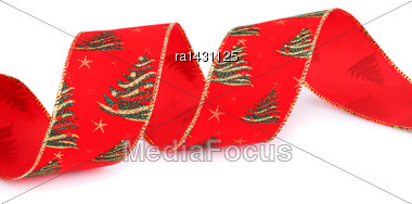 Christmas Red Ribbon Isolated On White Background Stock Photo