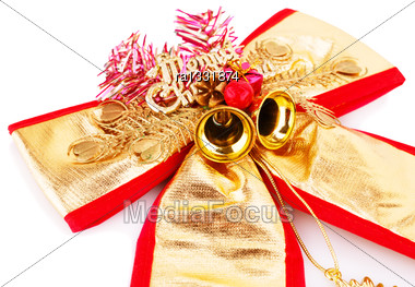 Christmas Ribbon Decoration With Bells Isolated On White Background Stock Photo