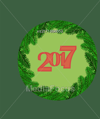 Christmas Round Banner With Fir Branches. 2017 New Year Poster On Green Background Stock Photo