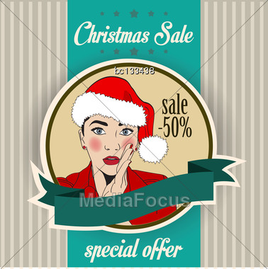 Christmas Sale Design With Sexy Santa Girl, Illustration In Vector Format Stock Photo