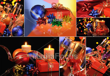 Christmas Set Of Photos Is With Champagne, Candles And Decorations Stock Photo