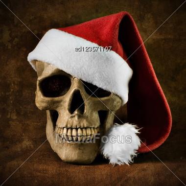 Christmas skull Stock Photo