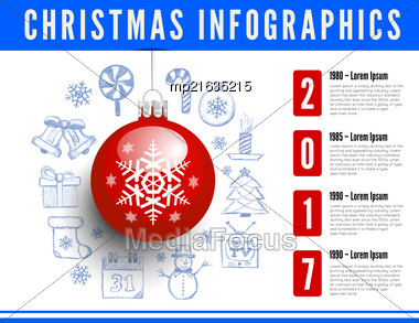 Christmas Sphere. Vector Infographics With Drawing Background Stock Photo