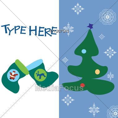 Stock Photo Christmas Text Card Blue Background Wuith - Image
