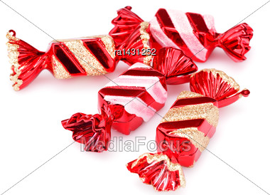 Christmas Toys Candies Isolated On White Background Stock Photo