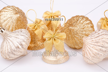 Christmas Toys Isolated On Gray Background Stock Photo