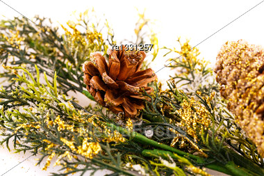 Christmas Tree Branch With Cones On White Background Stock Photo