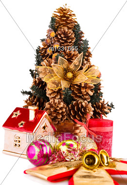 Christmas Tree And Decoration Isolated On White Background Stock Photo