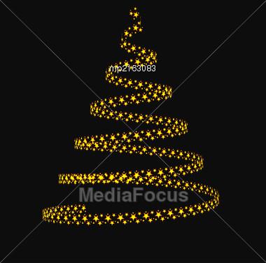 Christmas Tree From Light Stars. Vector Illustration Stock Photo