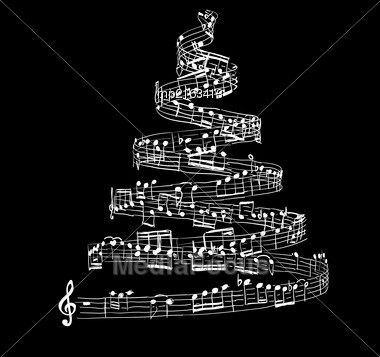Christmas Tree From Music Notes. Vector Illustration Stock Photo