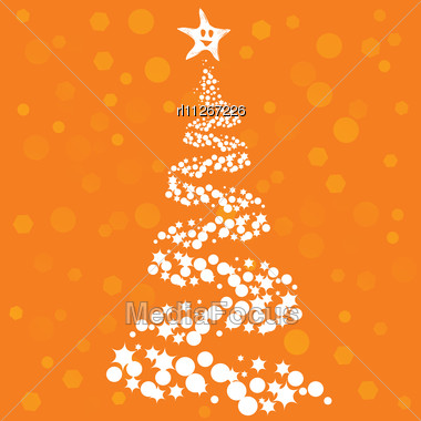 christmas tree on orange background stock photo - Orange Christmas Tree
