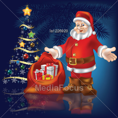 christmas tree with santa claus and gifts on blue background stock photo - Santa Claus Gifts