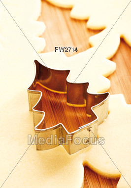 Christmas Tree Shapped Cookie Cutter Stock Photo