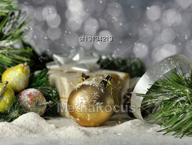 Christmas Vintage Decoration Close Up Stock Photo