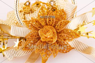 Christmas Yellow Decoration Closeup Image Stock Photo