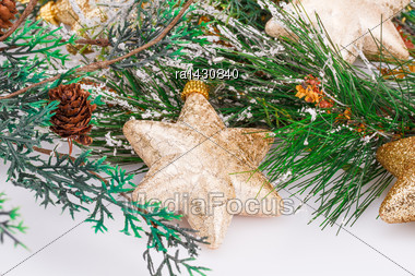 Christmas Yellow Stars And Fir Tree On Gray Background Stock Photo
