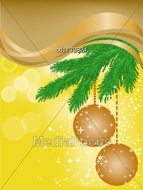 Christmassy Yellow Background With Brown Ribbons And Two Balls Stock Photo