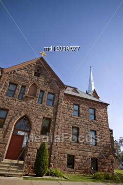 Church In Ashland Wisconsin Lake Superior Community Stock Photo
