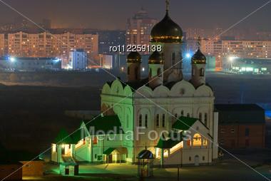 Church At Night City Stock Photo