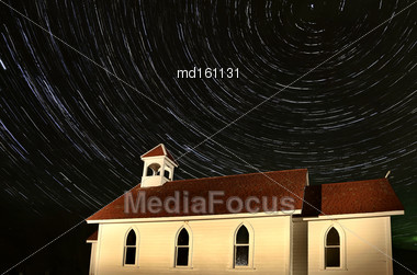 Church Night Shot Star Trails Saskatchewan Canada Stock Photo