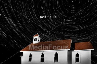 Church Night Shot Star Trails Saskatchewan Canada Stock Photo