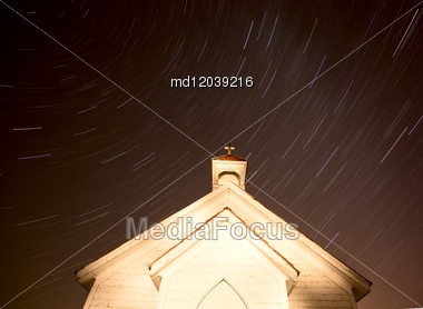 Church Night Star Trails Photography Canada Religion Stock Photo