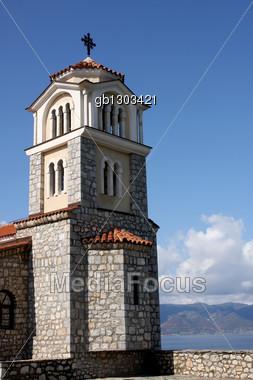 Church of St. Naum on Ohrid Lake, Macedonia Stock Photo