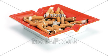 Cigarette Butts In An Ashtray Stock Photo