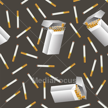 Cigarette Seamless Pattern Isolated On Grey Background Stock Photo