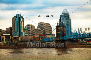 Cincinnati Downtown Overview Early In The Morning Stock Photo