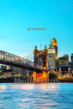 Cincinnati Downtown Overview Early In The Night Stock Photo