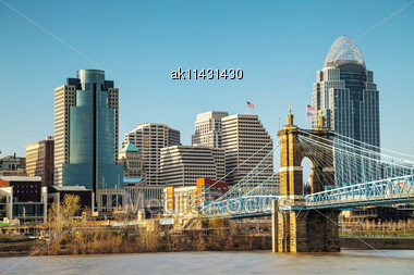 Cincinnati Downtown Overview On A Sunny Day Stock Photo
