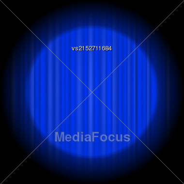 Cinema Closed Blue Curtain. Blue Textile Pattern. Cinema Stage Stock Photo