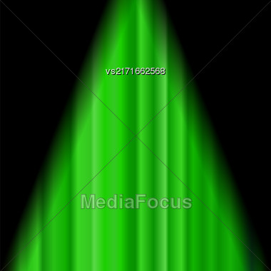 Cinema Closed Green Curtain. Green Textile Pattern. Cinema Stage Stock Photo